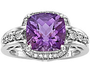 Sterling Checker-cut Gemstone & Diamond Ring - J374887