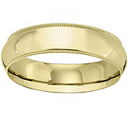 Mens 14K Yellow Gold 6mm Milgrain Wedding Band - J375587