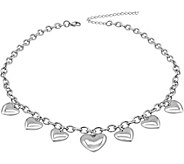 Stainless Steel 18 Puffed Heart Necklace - J376287
