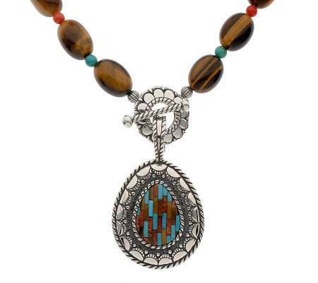 Sincerely Southwest Sterling Inlay Enhancer w/ Bead Necklace