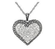 Suspicion Sterling Marcasite and Crystal HeartPendant w/Chain - J112488