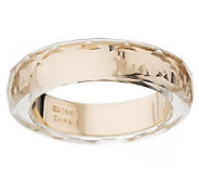Band Ring with Faceted Crystal Quartz Overlay 14K Gold - J260188