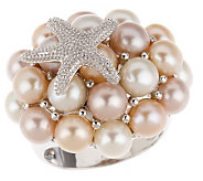 As Is Honora Sterling Cultured Pearl Starfish Ring - J271288