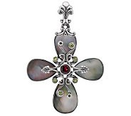Carolyn Pollack Mother-of-Pearl and Gemstone Sterling Cross Enhancer - J275188