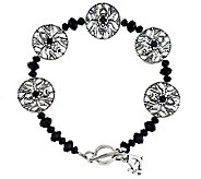 Kenneth Johnson Sterling Spider Black Spinel Bracelet - J286388