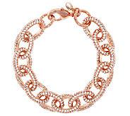 Bronze 6-3/4 Pave Crystal Oval Rolo Link Bracelet by Bronzo Italia - J291888