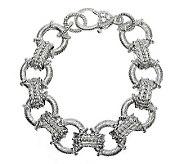 Judith Ripka Sterling Textured Link Diamonique Bracelet - 7L - J311788