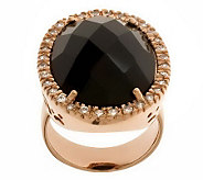Bronze Bold Faceted Gemstone & Crystal Ring byBronzo Italia - J312288