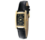 Peugeot Womens Goldtone Black Leather Strap Watch - J313488