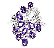 Sterling Silver Gemstone & Diamond Accent Cluster Ring - J315788
