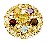 14K Yellow Gold-Plated Sterling 4.15 cttw Multi-Gemstone Ring - J316488