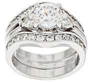 Diamonique 100-Facet 2 Piece Bridal Ring Set, Platinum Clad - J317988