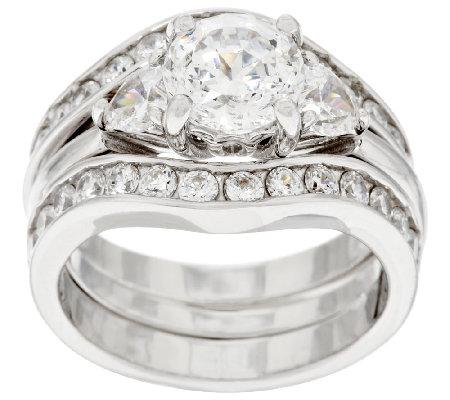 100 Facet 2 Piece Bridal Ring Set Platinum Clad