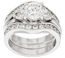 Epiphany Diamonique 100-Facet 2-Piece Bridal Ring Set