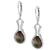 Sterling Silver Black Mother-of-Pearl Doublet Earring By Silver Style - J320488