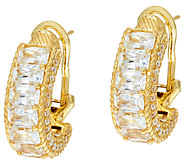 Judith Ripka Sterling & 14K Clad Diamonique Baguette Hoop Earrings - J323388