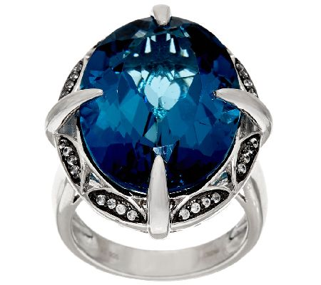 London Blue Topaz & White Zircon Sterling Ring, 26.00 ct tw