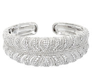 Judith Ripka Sterling Diamonique Wrapped Pave Cuff Bracelet - J325288