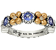 Barbara Bixby Sterling & 18K Flower Band Ring - J326088