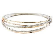 As Is Tri- color Highway Design Bangle with 1/5 cttw Diamond, 14K - J326588