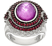 Judith Ripka Sterling Raspberry Mother of Pearl Doublet Ring - J328088