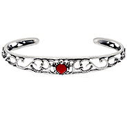 Carolyn Pollack Sterling Silver Red Coral Cuff Bracelet - J328188