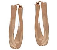 As Is Oro Nuovo 1-1/2 Elongated Oval Twist Hoop Earrings, 14K - J328388