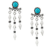 Sterling Silver & Turquoise Dangle Earrings by American West - J329188