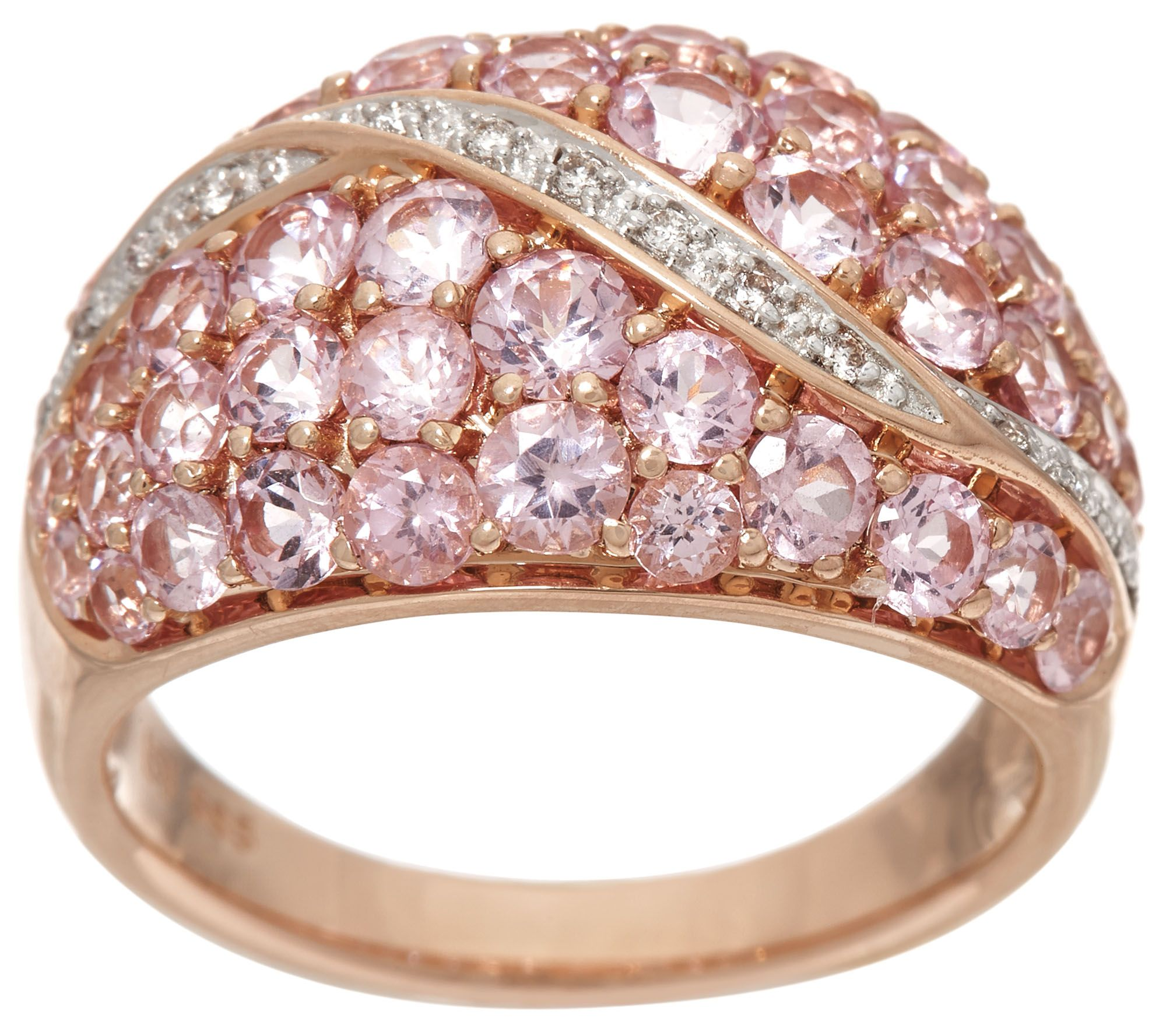 Shps 5/12 Pink Spinel & Diamond Wide Band Ring, 14K, 2.00 cttw
