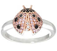Diamonique Ladybug Ring, Sterling - J330588