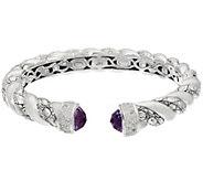 JAI Sterling Amethyst Croco Texture Hinged Bracelet - J332788