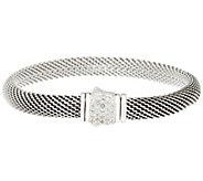 JAI Sterling Silver Mesh Bracelet w/ Pave Gemstone Clasp - J346288