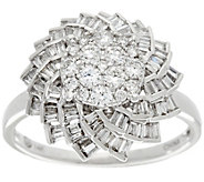 As Is Round & Baguette Floral Diamond Ring, 14K 3/4ct tw by Affinity - J347188