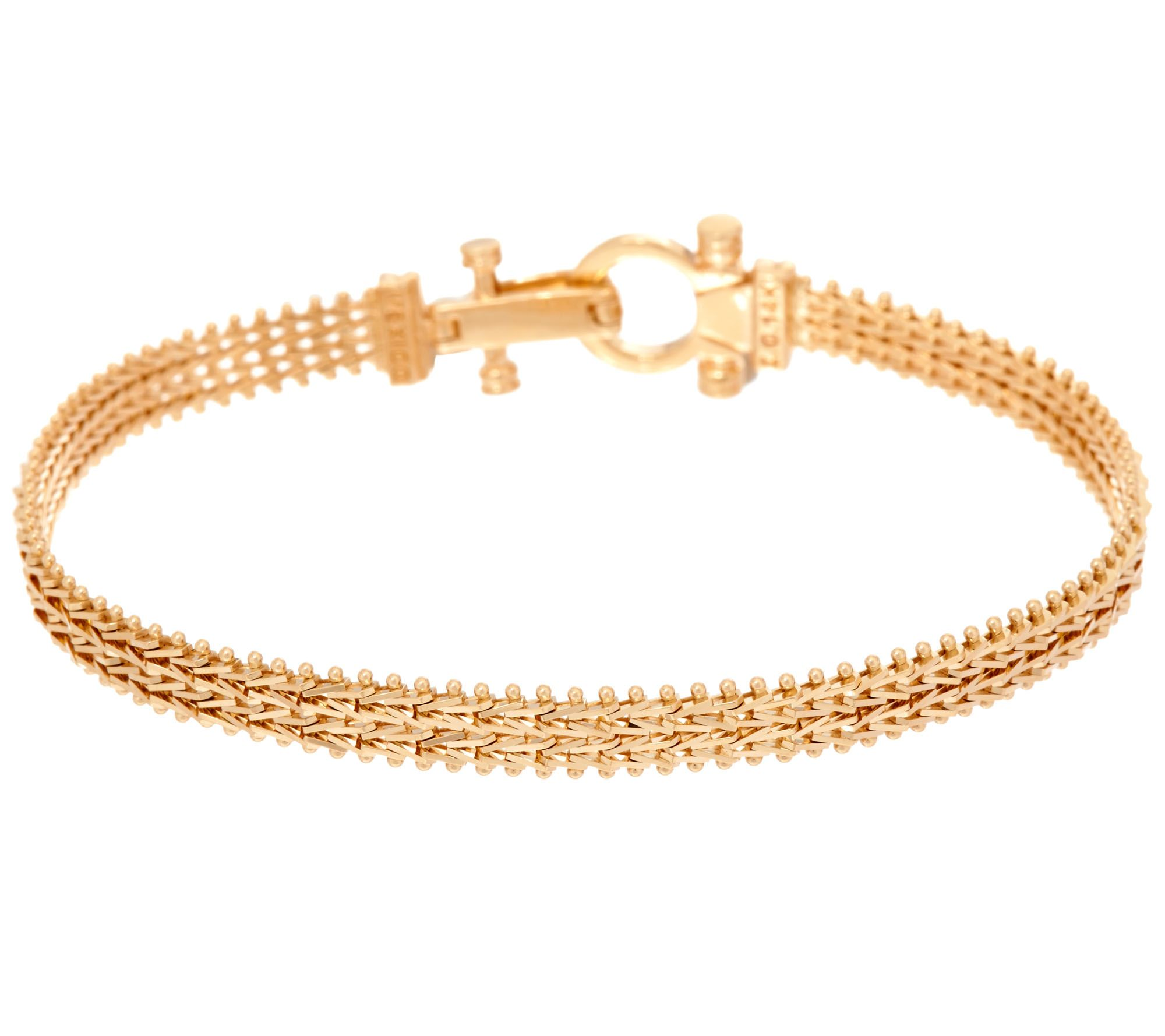 imperial gold 8 woven wheat bracelet 14k page 1