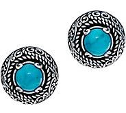 Carolyn Pollack Sterling Silver Omega Back Turquoise Earrings - J347788