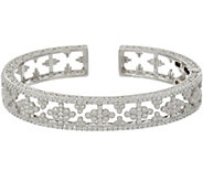 Judith Ripka Sterling Silver Estate Style Diamonique Cuff Bracelet - J347888