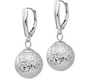 14K White Gold Diamond-Cut Ball Dangle Earrings - J379188