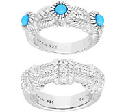 Judith Ripka Sterling Turquoise &  Diamonique Rings, Set of 2 - J379488