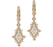 Judith Ripka 14K Gold and Diamond Drop Earrings - J381188