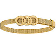 Italian Gold 7 Circle Station Mesh Buckle Bracelet 14K, 13.3g - J381588