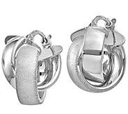 Italian Gold Petite Crossover Hoop Earrings 14K - J381688