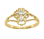 14K Gold Two-Tone Cross Ring - J382088