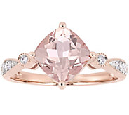 14K Gold 2.00 cttw Cushion-Cut Morganite & Diamond Ring - J382488