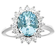 14K Gold 1.80 cttw Oval Aquamarine Halo Ring - J382588