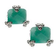 Judith Ripka Sterling 4.30 cttw Emerald Stud Earrings - J266989