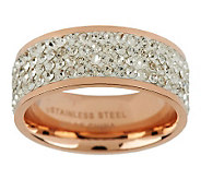 Stainless Steel Silk Fit Rose Gold Crystal Band Ring - J267889
