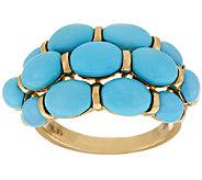 Sleeping Beauty Turquoise 3-Row Band Ring, 14K Gold - J268989