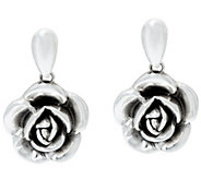 Sterling Silver Bold Rose Design Drop Earrings by Or Paz - J277389