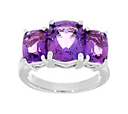 4.60 ct tw Amethyst 3-Stone Cushion Cut Sterling Ring - J289889