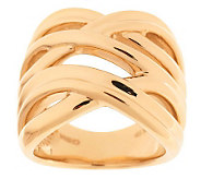 As Is Bold Double Crossover Design Polished Ring, 14K Gold - J290889